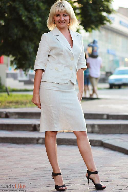 Юбка льняная со складками Деловая женская одежда