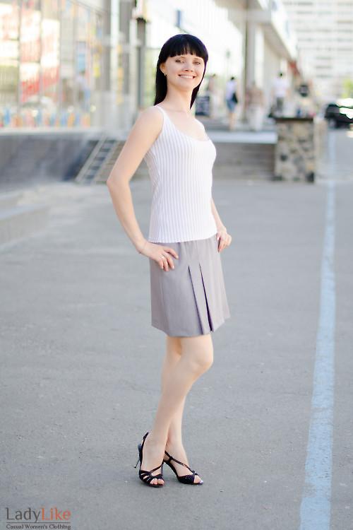 Юбка серая со складками Деловая женская одежда