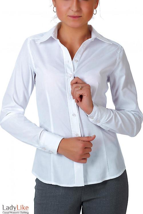 Фото Блузка белая классическая с планочкой  Деловая женская одежда