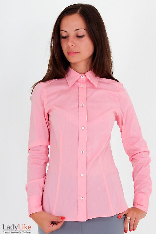 Фото Блузка бледно-розовая Деловая женская одежда