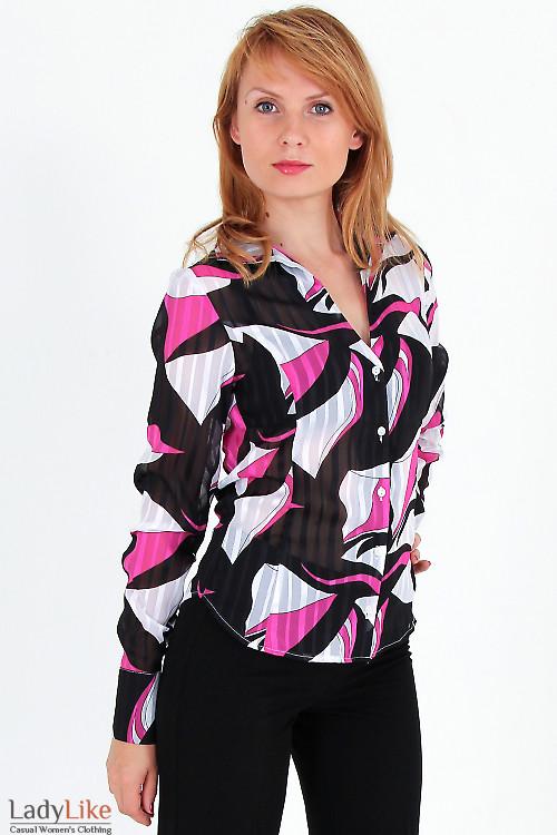 Фото Блузка с бордовыми разводами Деловая женская одежда