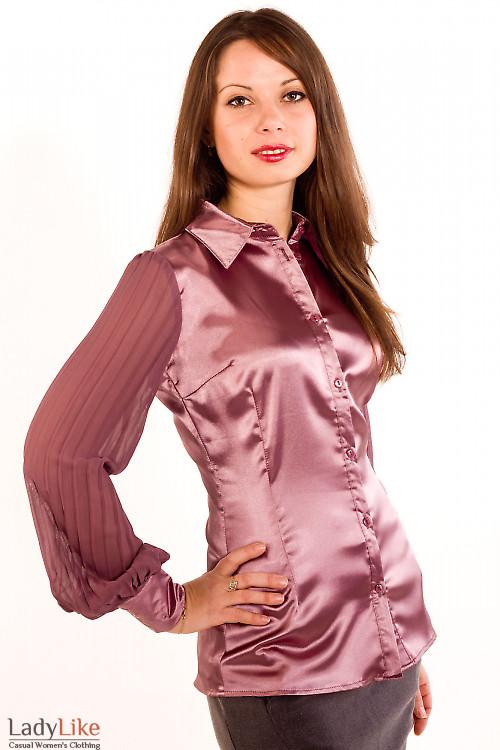 Фото Блузка с плиссированым рукавом Деловая женская одежда
