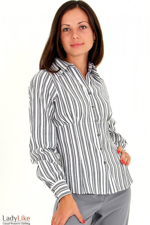 Фото Блузка в черную полоску Деловая женская одежда