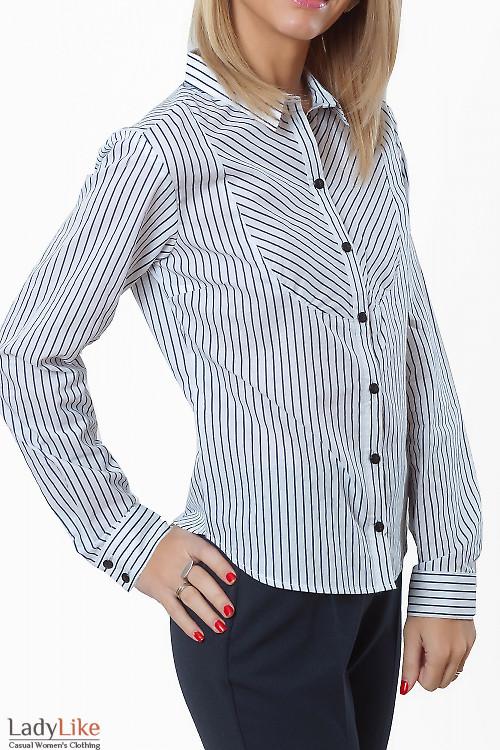 Купить блузку в широкую синюю полоску Деловая женская одежда