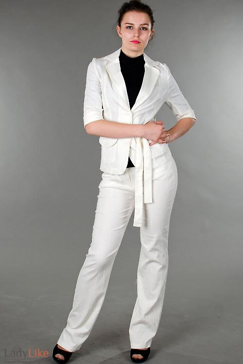 Фото Брюки молочные льняные Деловая женская одежда