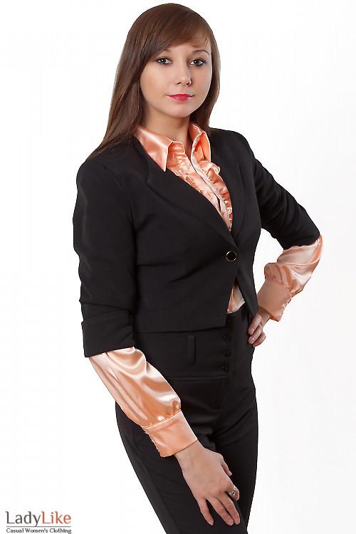 Жакет-болеро с одной пуговицей Деловая женская одежда
