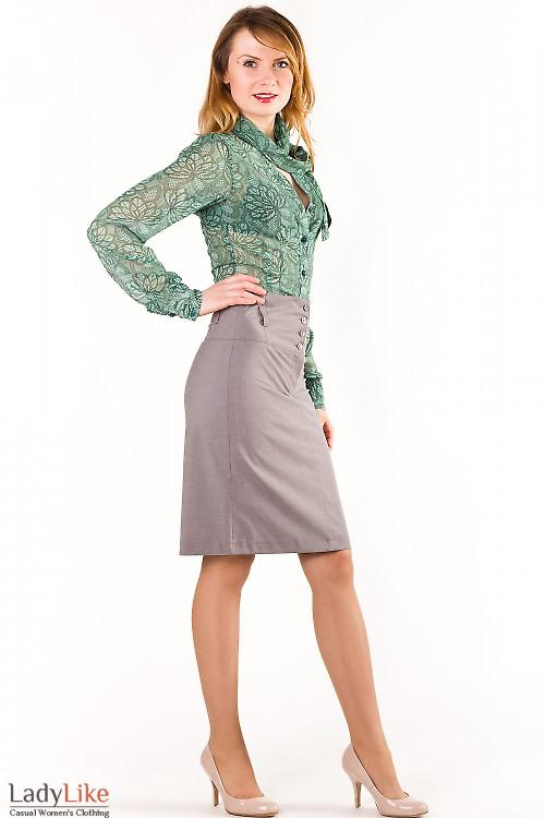 Фото Блузка зеленая с бантом Деловая женская одежда