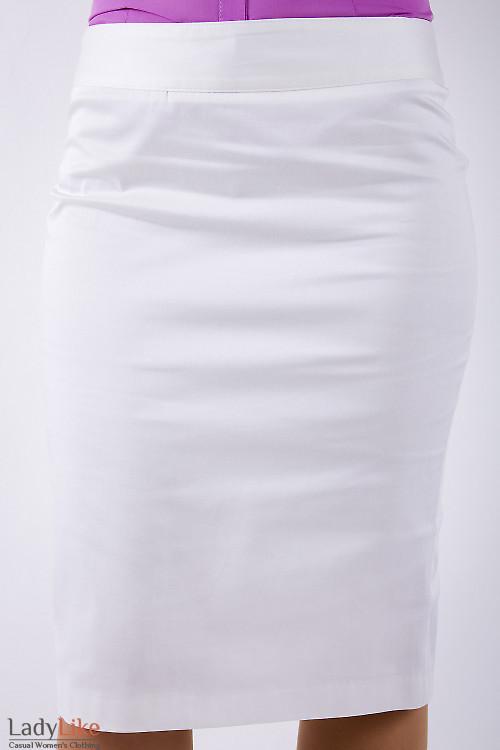 Фото Юбка-карандаш из хлопка кремовая Деловая женская одежда