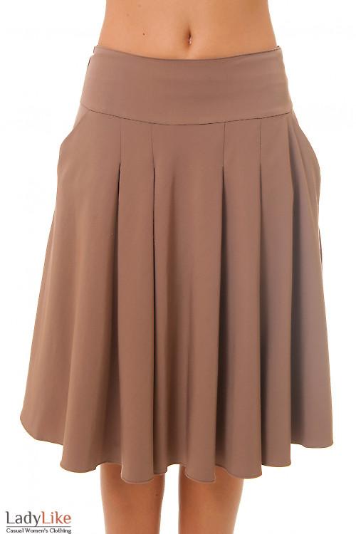 Юбка пышная коричневая Деловая женская одежда