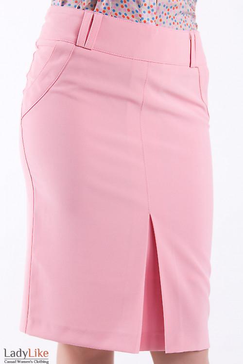 Фото Юбка с бантовой складкой розовая Деловая женская одежда
