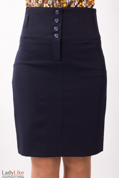 Фото Юбка темно-синяя с завышенной талией Деловая женская одежда