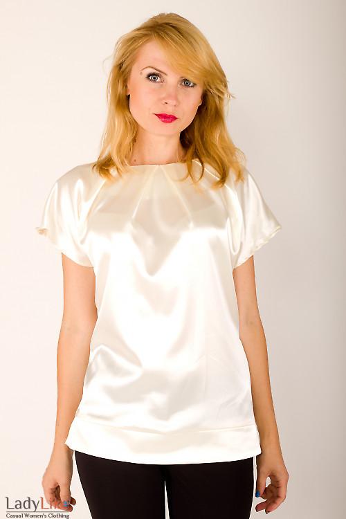 Фото Блузка без рукавов кремовая Деловая женская одежда