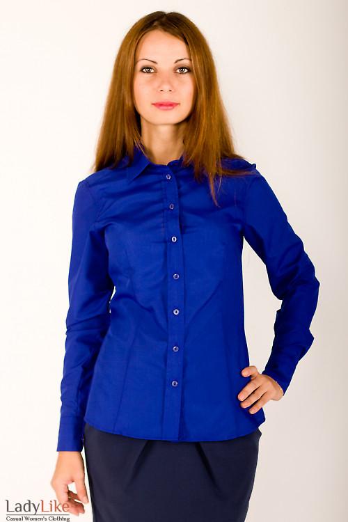 Фото Блузка синяя из хлопка Деловая женская одежда