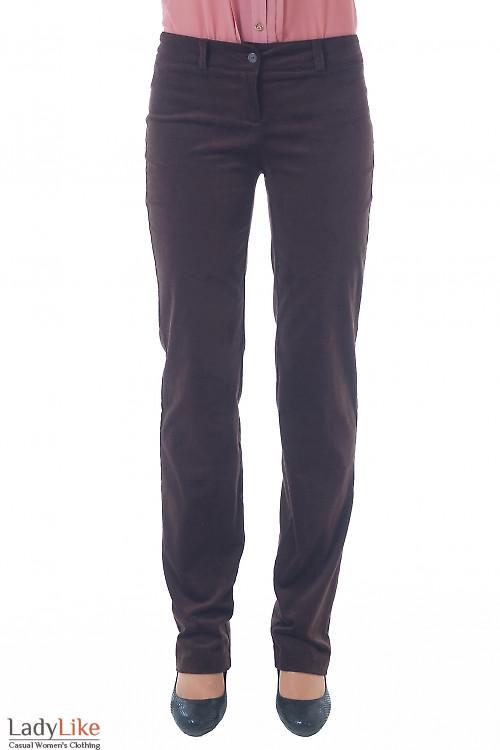 Купить брюки из коричневого вельвета Деловая женская одежда