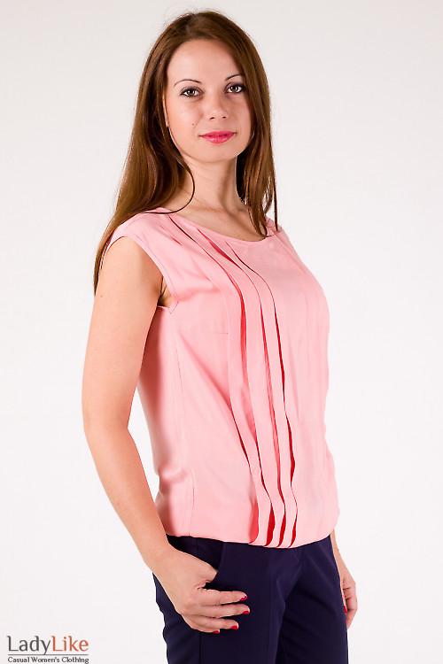 Фото Топ розовый со складочками Деловая женская одежда