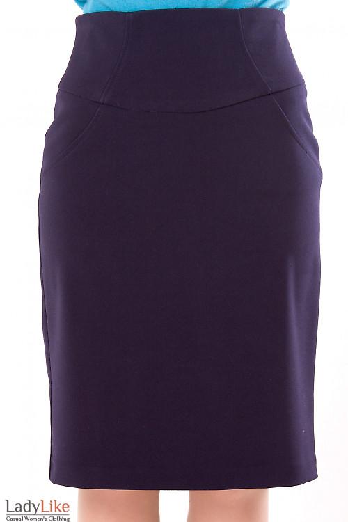Фото Юбка синяя теплая с высокой талией Деловая женская одежда