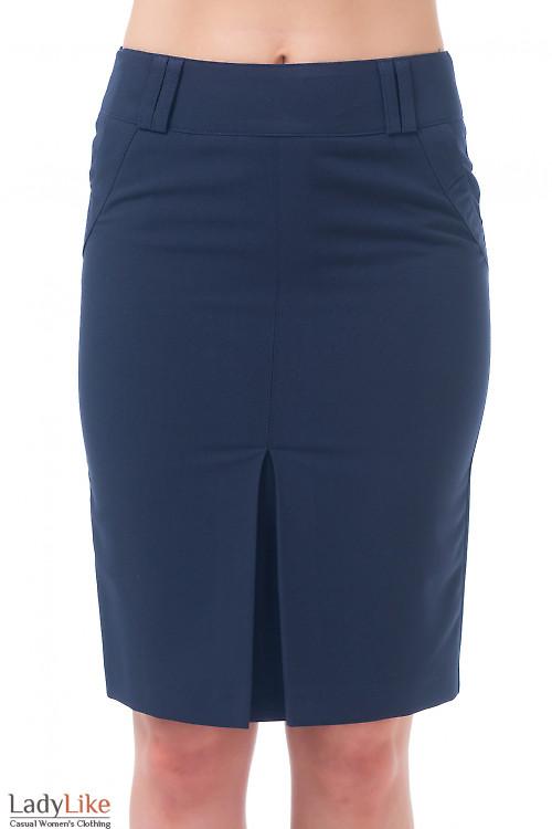 Юбка темно-синяя со встречной складкой Деловая женская одежда