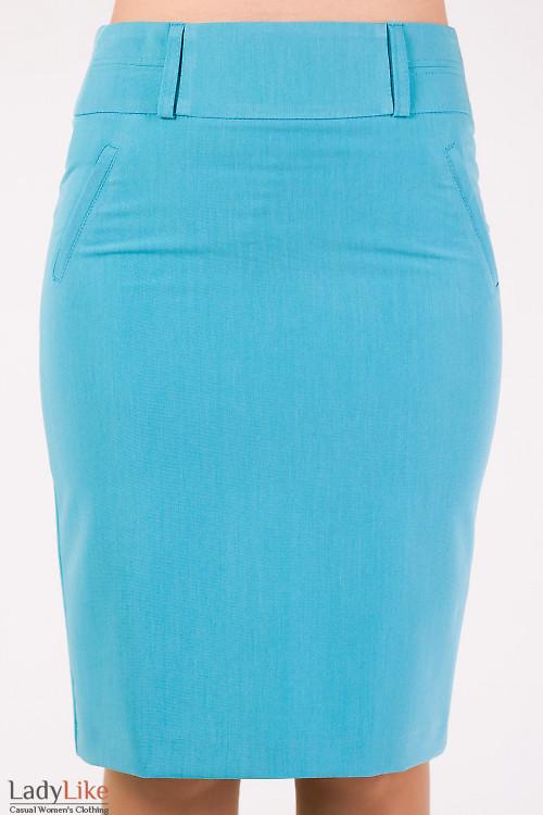 Фото Юбка в офис голубая Деловая женская одежда