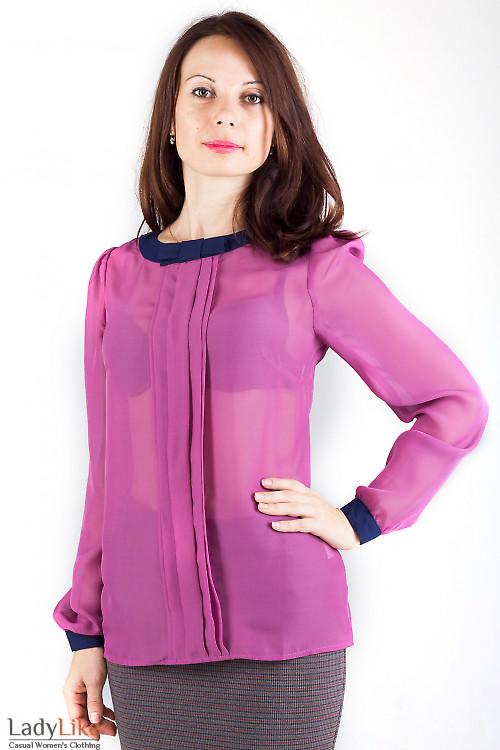 Фото Блузка розовая с синим бантиком Деловая женская одежда
