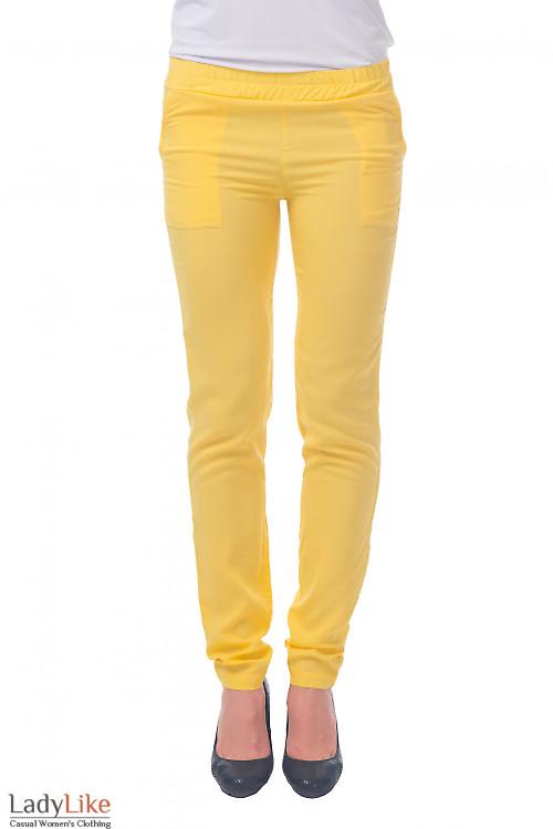 Фото Брюки на резинке желтые Деловая женская одежда