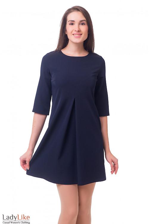 Платье синее со встречной складкой Деловая женская одежда