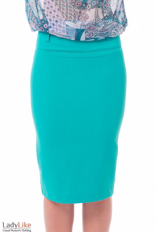 Юбка-карандаш зеленого цвета Деловая женская одежда