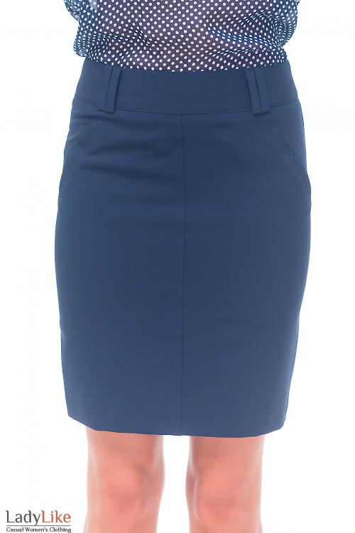 Юбка синяя с карманами Деловая женская одежда