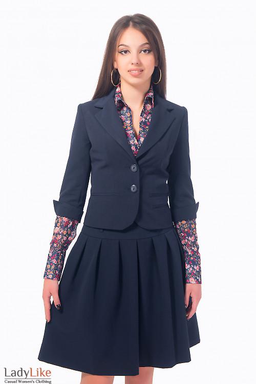Жакет синий с разрезом на рукаве Деловая женская одежда