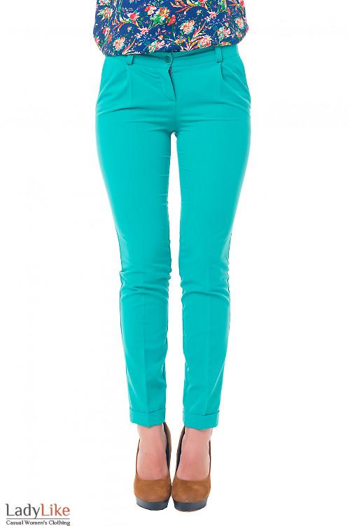 Женские зеленые брюки зауженные Деловая женская одежда