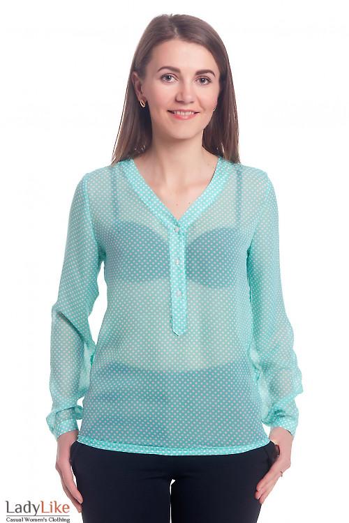 Блузка бирюзовая в горошек с планкой Деловая женская одежда