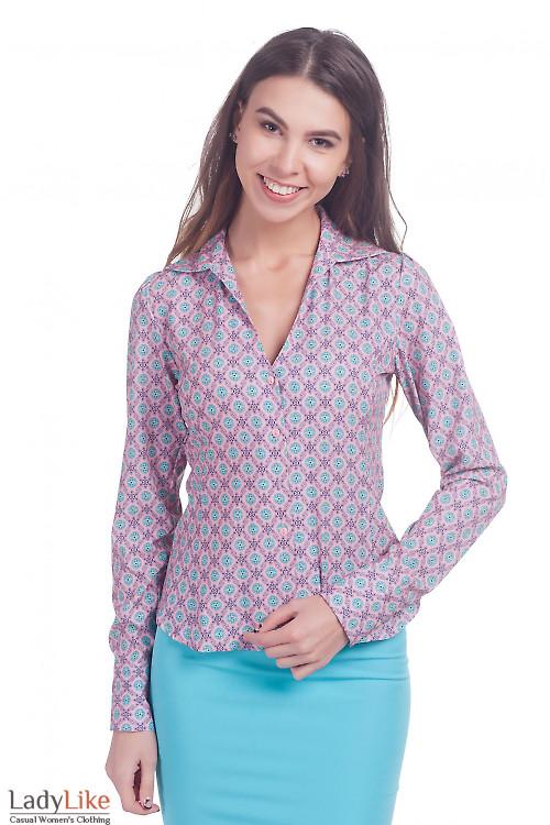 Фото Блузка коралловая в бирюзовые цветочки Деловая женская одежда