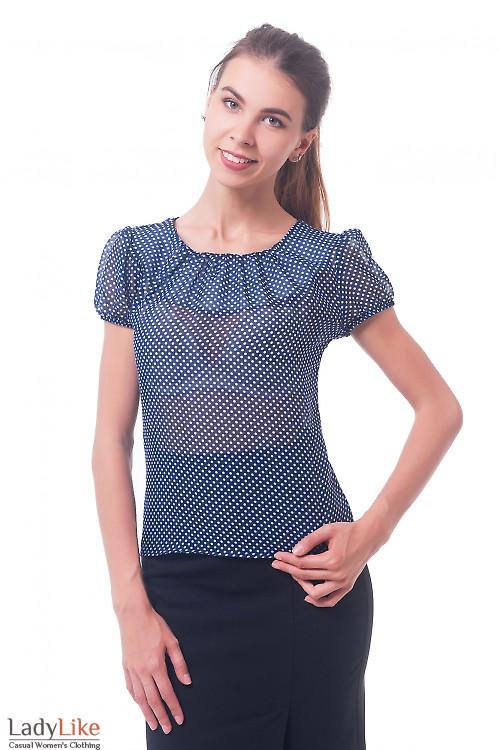 Блузка синяя в горошек с рукавчиком Деловая женская одежда