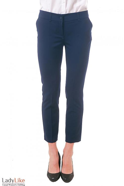 Фото Брюки короткие темно-синие Деловая женская одежда
