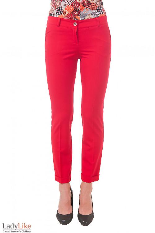 Фото Брюки красные короткие Деловая женская одежда
