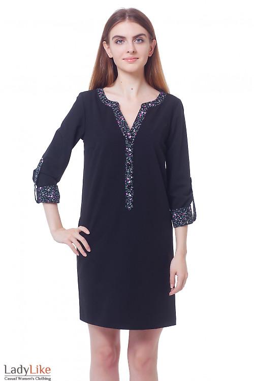 Платье черное с планкой в цветочек Деловая женская одежда