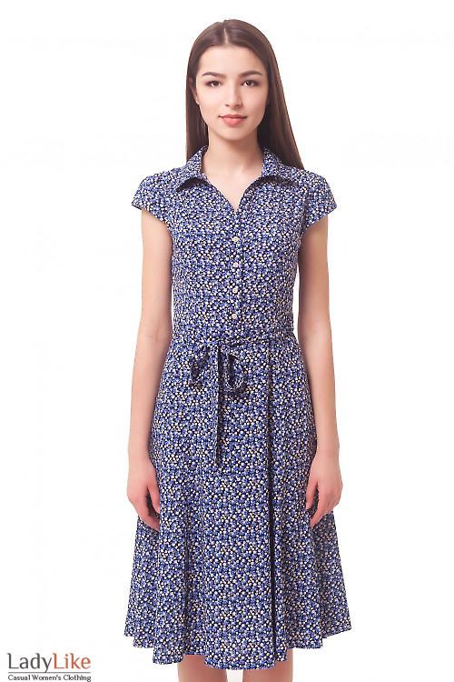Платье синее в бежевый цветочек из штапеля Деловая женская одежда