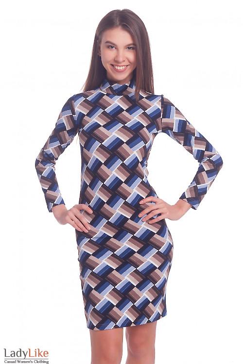 Платье синее в полосатые ромбы Деловая женская одежда