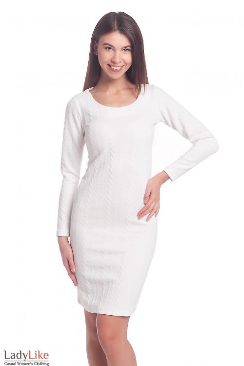 Платье трикотажное белое Деловая женская одежда
