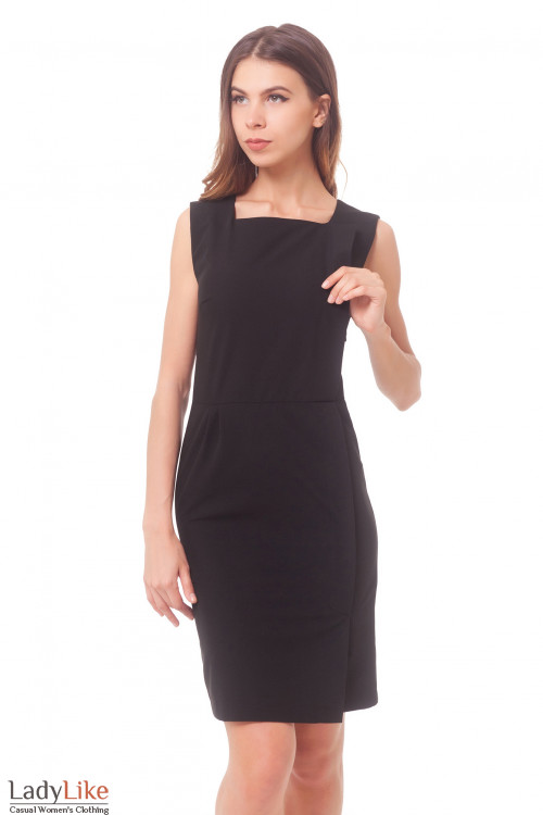 Сарафан черный с запахом Деловая женская одежда