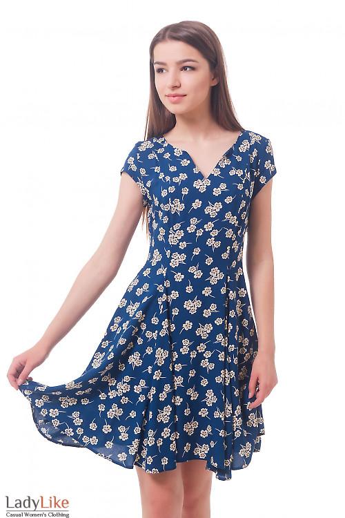 Синее платье в серый цветок Деловая женская одежда