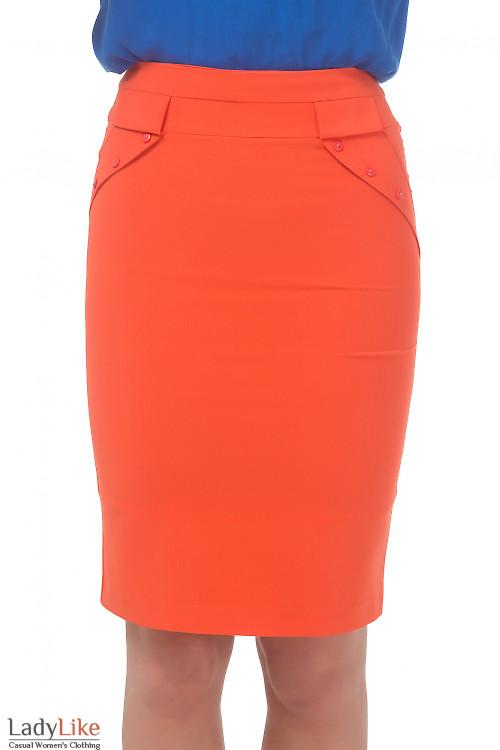 Юбка оранжевая с клапанами Деловая женская одежда