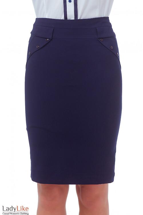 Юбка синяя с клапанами Деловая женская одежда