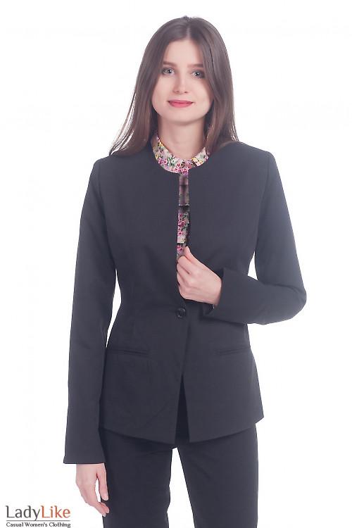 Фото Жакет черный с длинным рукавом Деловая женская одежда