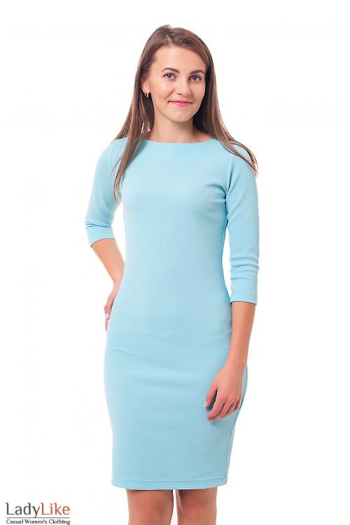 Платье трикотажное голубое Деловая женская одежда фото