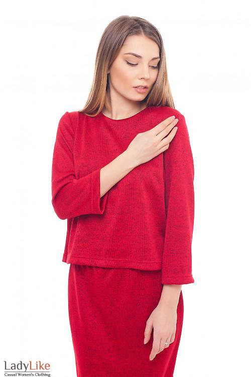Блуза красная теплая трикотажная Деловая женская одежда фото