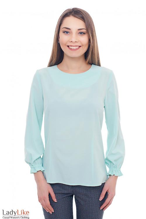 Блузка бирюзовая с резинкой на рукавах Деловая женская одежда фото