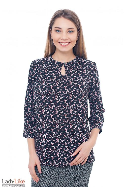 Блузка черная с капелькой Деловая женская одежда фото