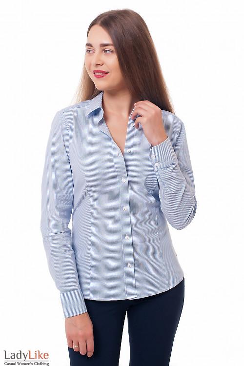 Деловая женская одежда Блузка классическая в синюю полоску фото