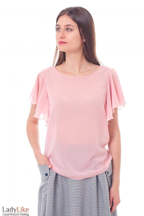 Блузка кремовая с крылышками Деловая женская одежда фото