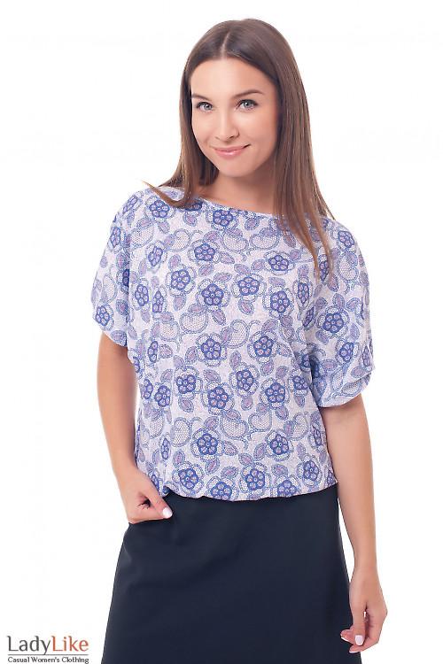 Блузка на резинке в сиреневые цветы Деловая женская одежда фото